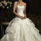 2012 Strapless White Organza Lace Applique Beaded Flowers Bridal Gown Wedding Dress 8907