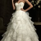 2012 Strapless White Organza  Applique Beaded Casading Ruffle Bridal Gown Wedding Dress 8911