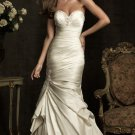 2012 Strapless Ivory Satin Ruffled Beaded Mermaid Bridal Gown Wedding Dress 8912