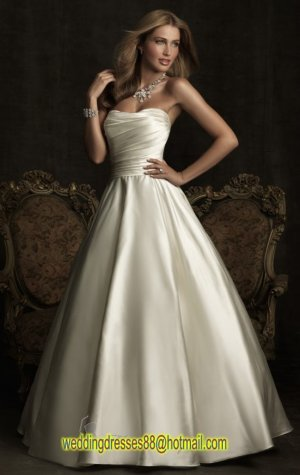 2012 Strapless White Satin Ruffled Beaded Buttons A-line Wedding Dress Bridal Dress 8919