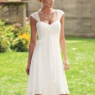 Double Straps white Chiffon Rulled tea length short wedding dress / bridesmaid dress 19112