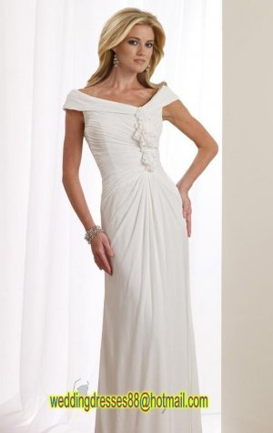 2012 Cap Sleeves White Chiffon Flowers Ruffled  A-line Wedding Dress Bridal Dress 112106