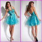 2012 Custom Halter Jeweled Mini Blue Organza Homecoming Dress Cocktail Dress HS019