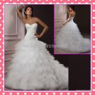 2012 Hot Sale Strapless White Organza Beaded Fashion Ball Gown wedding dresses,Bridal dresses P009