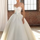 2012 Strapless White Satin Organza Ruffled Beaded Button A-line wedding dress 4808