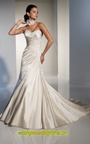 2012 Strapless Ivory Satin Ruffled Applique Beaded A-line wedding dress Y21143
