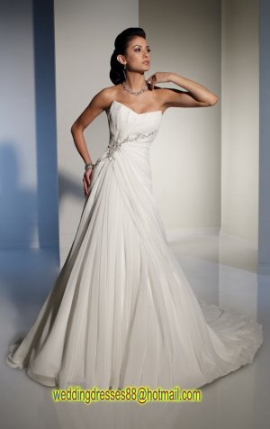 2012 Strapless White Chiffon Ruffled Beaded A-line wedding dress Y21151