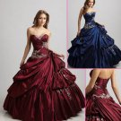Discount Dress Strapless Blue Red Tulle Embroidered Ball Gown Quinceanera Dress Prom Dress
