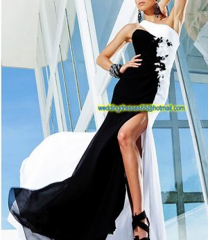 One Shoulder White Black Chiffon Flowers Ruffled Beaded Prom Dress Party Dress A03