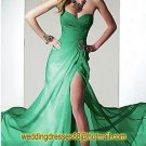 Strapless Black Red Green Chiffon Ruffled Beaded Evening Dress Party Dress C