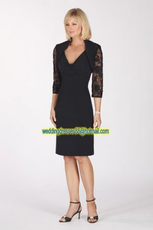 Double Straps Black Chiffon 3/4 Sleeves Jacket Beaded Knee-length Mother of the Bridal Dress