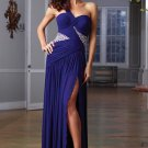 One Shoulder Black Blue Chiffon Ruffled Beaded Evening Dress Party Dress F