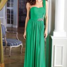 One Shoulder Green Chiffon Ruffled Beaded Evening Dress Party Dress H