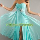 Strapless Yellow Blue Chiffon Ruffled Beaded Evening Dress Party Dress Prom Dress J
