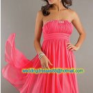 Strapless Red Chiffon Ruffled Beaded Cocktail Dress Hi-low Homecoming Dress L