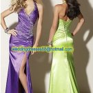 Halter Purple Green Stretch Satin  Ruffled Beaded Evening Dress Party Dress Prom Dress O