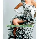 2012 One Shoulder Black White Organza Ruffled Beaded Evening Dress Party Dress Prom Dress X