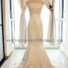 2012 New Style Strapless White Ivory Lace Applique Beaded Bridal Gown wedding dress CS9