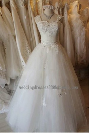 2012 New Style Double Straps White Ivory Tulle Applique Beaded Bridal Gown wedding dress CS19