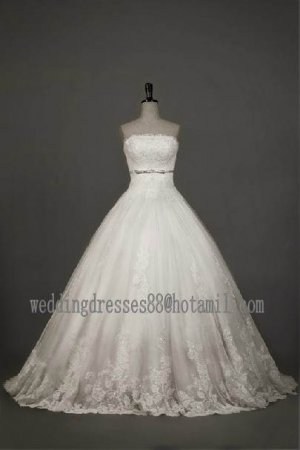 2012 New Style Strapless White Ivory Tulle Applique Beaded Bridal Gown wedding dress CS23