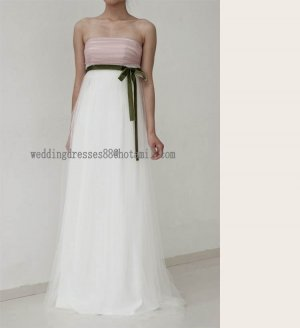 2012 New Style Strapless White Pink Tull Green Belt Bridal Gown Empire wedding dress CS32