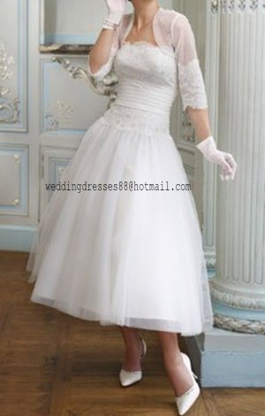 2012 Strapless white Tulle Lace Applique Beaded Short wedding dress Bridal Gown Jacket