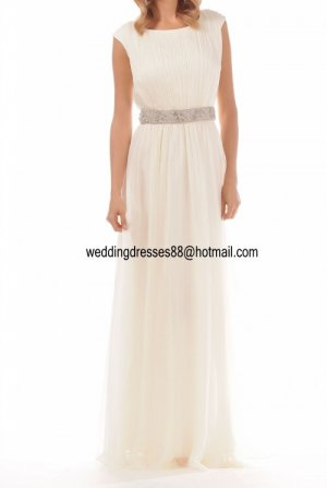 2012 New Style Short Sleeves white Chiffon Pleat Beaded wedding dress Bridal Gown