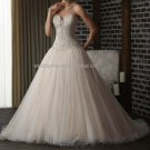 2012 New Style Strapless White Ivory Champagne Pleat Beaded  Bridal Gown wedding dress 300