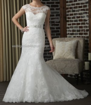 2012 New Style Cap Sleeves White Ivory  Lace Beaded Bridal Gown wedding dress