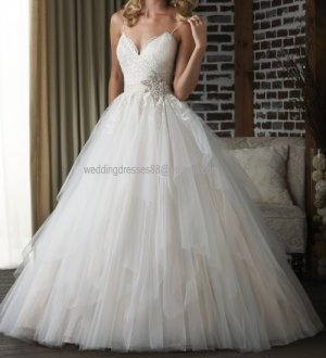 2012 Double Spaghetti White Ivory Tulle Pleat Applique Beaded  Bridal Gown wedding dress 308