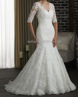 2012 New Style 3/4 Sleeves White Ivory  Lace Mermaid Bridal Gown wedding dress 315