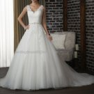 2012 Double Straps White Ivory Tulle Lace Pleat Aplique Beaded Bridal Gown wedding dress 318