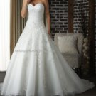 2012 Strapless White Ivory Organza Venice Lace Aplique Bridal Gown wedding dress 320