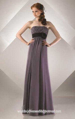 2012 Hot Sale Strapless Gray Chiffon Black Belt Flower Pleat Bridesmaid Dress Evening Dress