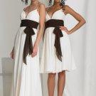 2012 Hot Sale Double Spaghetti White Chiffon Coffee Belt Pleat Empire Bridesmaid Dress Evening Dress