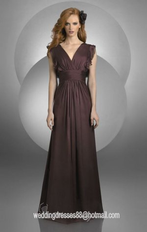 2012 Hot Sale Short Sleeves Coffee Chiffon Pleat Bridesmaid Dress Evening Dress