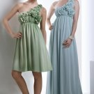 2012 One Shoulder Green Blue Chiffon  Hand Flowers Pleat Full Length Bridesmaid Dress Evening Dress