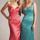2012 Hot Sale One Shoulder Orange Blue Satin Pleat  Beaded Bridesmaid Dress Evening Dress