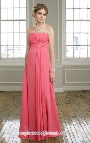 2013 Hot Sale Strapless Pink Red Purple Chiffon Pleat  Bridesmaid Dress Evening Dress Party Dress