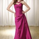 2013 Hot Sale Strapless Purple Red Taffeta Pleat Bridesmaid Dress Evening Dress Party Dress