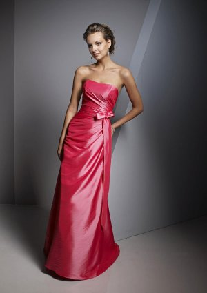2013 Hot Sale Strapless Red Taffeta Pleat Bridesmaid Dress Evening Dress Party Dress