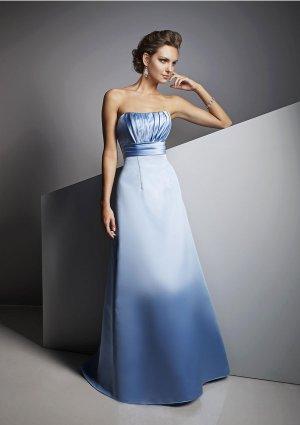 2013 Hot Sale Strapless Little Blue Satin Pleat Bridesmaid Dress Evening Dress Party Dress
