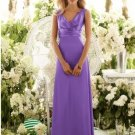 2013 Double Straps Purpl Chiffon Stretch Satin Pleat Bridesmaid Dress Evening Dress Party Dress