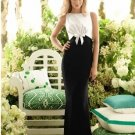 2013 Hot Sale Double Straps White Black Satin Pleat Bridesmaid Dress Evening Dress Party Dress