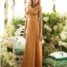 2013 Hot Sale Double Straps Gold Stretch Satin Pleat Bridesmaid Dress Evening Dress Party Dress