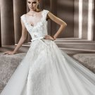 2013 Hot Sale White Ivory Lace Tulle Hand Flowers Aplique Beaded Bridal Gown wedding dress
