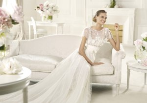 2013 Short Sleeves White Ivory Lace Chiffon Pleat Applique Beaded Mermaid Wedding dress Bridal Gown