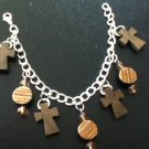 Wooden Cross Charm Bracelet