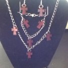 Red wooden cross matching set