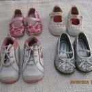 Lot 4 Pairs Toddler Girls Shoes Sneakers Sz 6/6.5 Lot